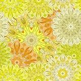 Золотая безшовная картина с восточным флористическим орнаментом Флористический восточный дизайн в ацтеке, turkish, Пакистане, инд Стоковое Фото