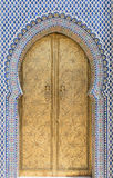 Золотая дверь в Fez, Morroco Стоковая Фотография