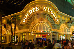 Золотая гостиница наггета в улице Fremont, Лас-Вегас Стоковые Фотографии RF