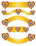 Золотая лента пакета с сердцами иллюстрация вектора