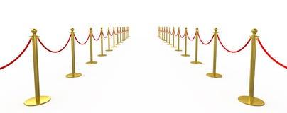 Золотая загородка, опора с красной веревочкой барьера Стоковые Фотографии RF