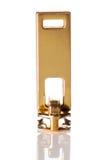 Золотая застежка-молния изолированная на белизне Стоковые Изображения RF