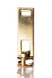 Золотая застежка-молния изолированная на белизне Стоковые Изображения