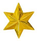 Золотая звезда рождества изолированная на белой предпосылке, пути клиппирования Стоковые Изображения
