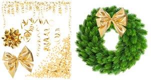Золотая змейчатая лента, confetti, смычок ленты Стоковая Фотография