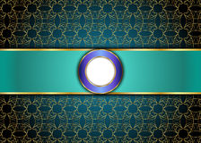 Золотая и голубая винтажная предпосылка пробел для сообщения или текста сертификат Стоковое фото RF
