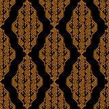 Золотая и черная этническая ацтекская геометрическая безшовная картина, вектор, польза для предпосылки дизайна, печати ткани Стоковое Изображение RF