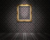 Золотая картинная рамка на стене стоковые изображения