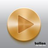 Золотая кнопка игры иллюстрация штока