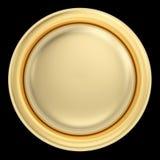 Золотая кнопка на черноте Стоковые Изображения