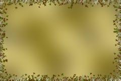Золотая коричневая предпосылка с границей листьев и травы Стоковое фото RF