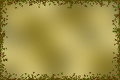 Золотая коричневая предпосылка с границей листьев Стоковое Изображение
