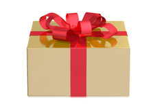 Золотая коробка, вид спереди Стоковое фото RF