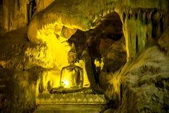 Золотая красивая статуя Будды в пещере Стоковые Фотографии RF