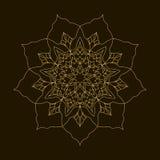 Золотая мандала Орнамент циркуляра шаблона Стоковое Изображение RF