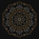 Золотая мандала с сердцами на темной предпосылке кругово бесплатная иллюстрация
