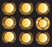 Золотая медаль и лавры вектора бесплатная иллюстрация