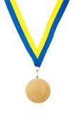 Золотая медаль на ленте Стоковое фото RF
