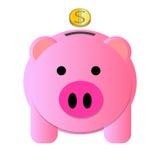 Золотая монетка банка свиньи розовая Стоковое фото RF