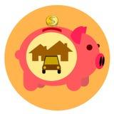 Золотая монетка банка свиньи розовая Стоковые Изображения RF