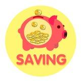 Золотая монетка банка свиньи розовая иллюстрация штока