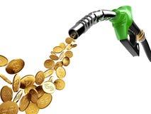 Золотая монетка бензиновой колонки и с знаком доллара Стоковая Фотография RF
