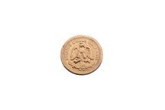 Золотая монетка двух с половиной мексиканских песо Стоковые Фото