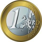 Золотая монетка денег вектора одно евро иллюстрация штока