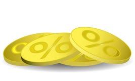 Золотая монетка с знаком процентов Стоковая Фотография RF
