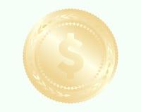 Золотая монетка с отражениями на предпосылке Стоковые Фотографии RF