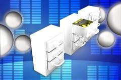 золотая монетка 3D внутри иллюстрации шкафчика Стоковое Изображение RF