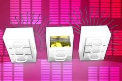 золотая монетка 3D внутри иллюстрации шкафчика Стоковые Изображения RF