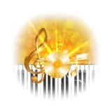 Золотая музыкальная плита винила с ключами дискантового ключа и рояля, вспышкой Стоковое фото RF