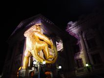 Золотая обезьяна на белой ноче Мельбурне 2016 Стоковая Фотография