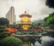 Золотая пагода внутри сада Гонконга Nan lian Стоковое Фото