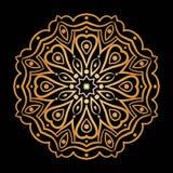 Золотая предпосылка в форме цветка Востоковедная картина Стоковые Фото