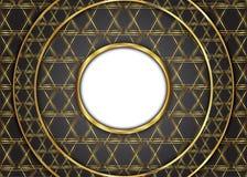 Золотая предпосылка года сбора винограда круга сертификат Стоковые Фотографии RF