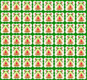 Золотая предпосылка зеленого цвета обоев колокола рождества иллюстрация штока