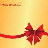 Золотая предпосылка рождества с смычком подарка бесплатная иллюстрация