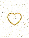 Золотая предпосылка яркого блеска сердца Большой дизайн на день валентинки Иллюстрация вектора
