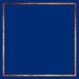 Золотая рамка границы на голубой предпосылке Стоковая Фотография