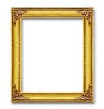 Золотая рамка изолированная на белой предпосылке Стоковое фото RF
