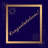 Золотая рамка поздравлениям на синей предпосылке Стоковая Фотография RF