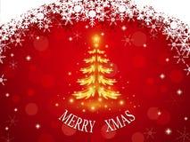 Золотая рождественская елка на красной предпосылке с рамкой и bokeh снежинки Стоковое Изображение RF