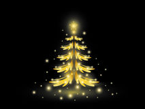 Золотая рождественская елка на черноте Стоковое Фото