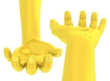 золотая рука 3D дает открыт-врученный жест Стоковая Фотография RF