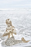 Золотая русалка держа раковину моря Стоковая Фотография RF