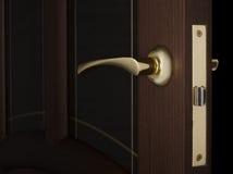 Золотая ручка на двери Стоковые Изображения RF