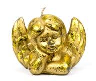 Золотая свеча статуи ангела на белой предпосылке Стоковое Фото