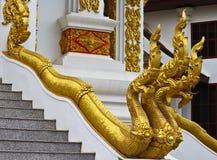 Золотая скульптура лестницы Naga в виске Lao Стоковые Фотографии RF